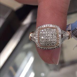 14K ROSEGOLD/SS DIAMOND RING SZ 7